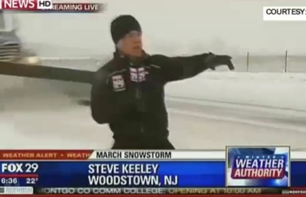 News reporter gets nailed by plow truck!